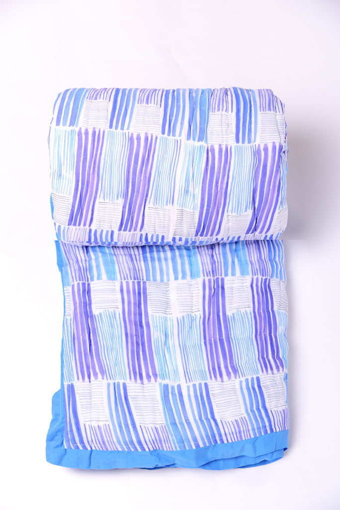Stripes Cotton Quilts -305 BLUE