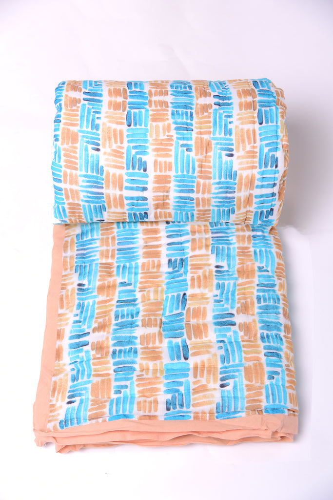 Stripes Cotton Quilt-307 BLUE OCHRE