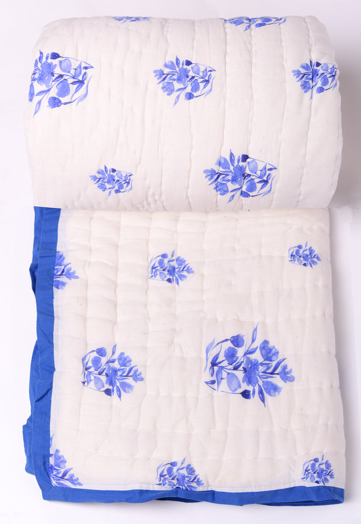 Floral Cotton Quilts-201 Blue