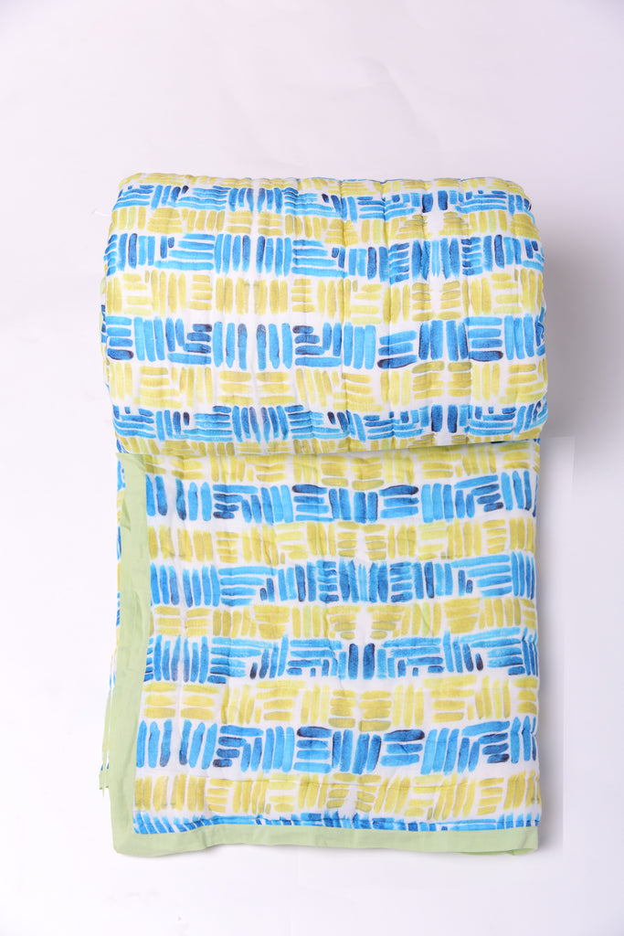 Stripes Cotton Quilt -307 YELLOW BLUE