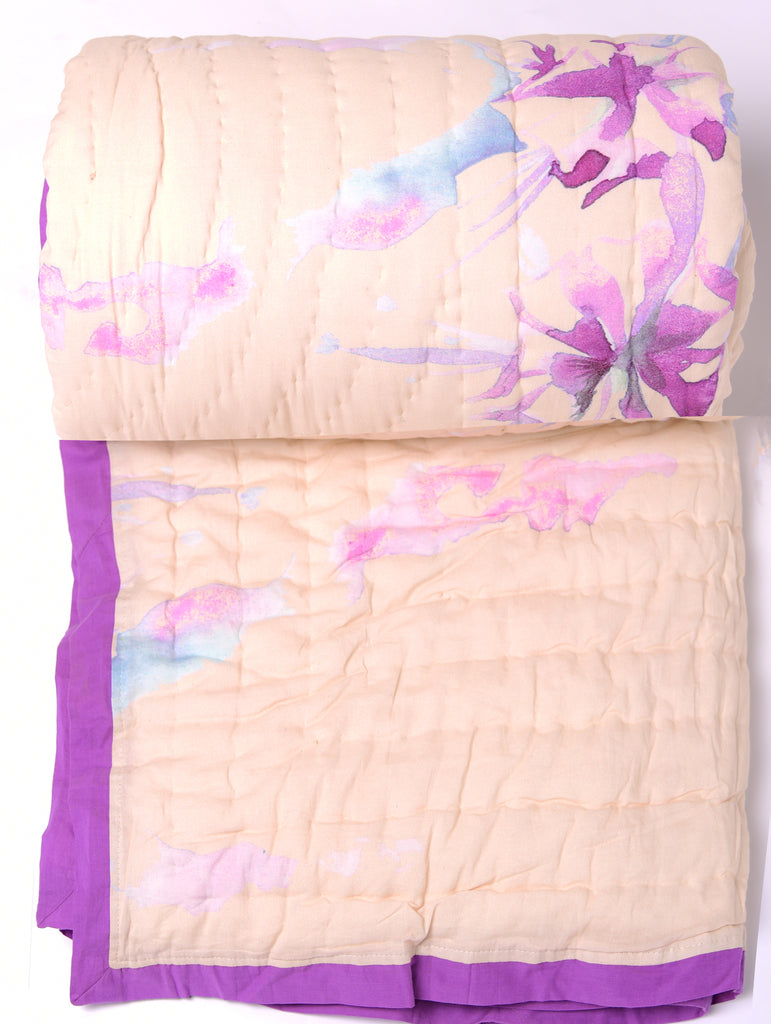Floral Dreams Cotton Quilt 104 white purple