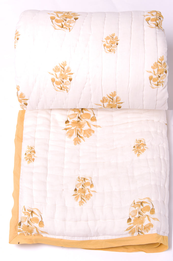 Floral Dreams Cotton Quilt 201 Ochre