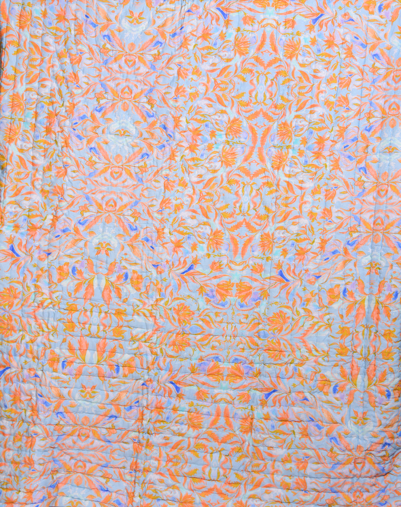 Floral Cotton Quilts-Sky Orange 108