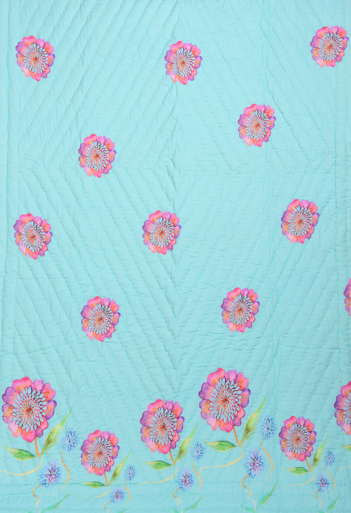 Floral Dreams Cotton Quilt 105 AQUA
