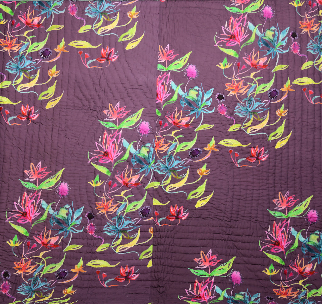 Floral Dreams Cotton Quilt 103 Brown