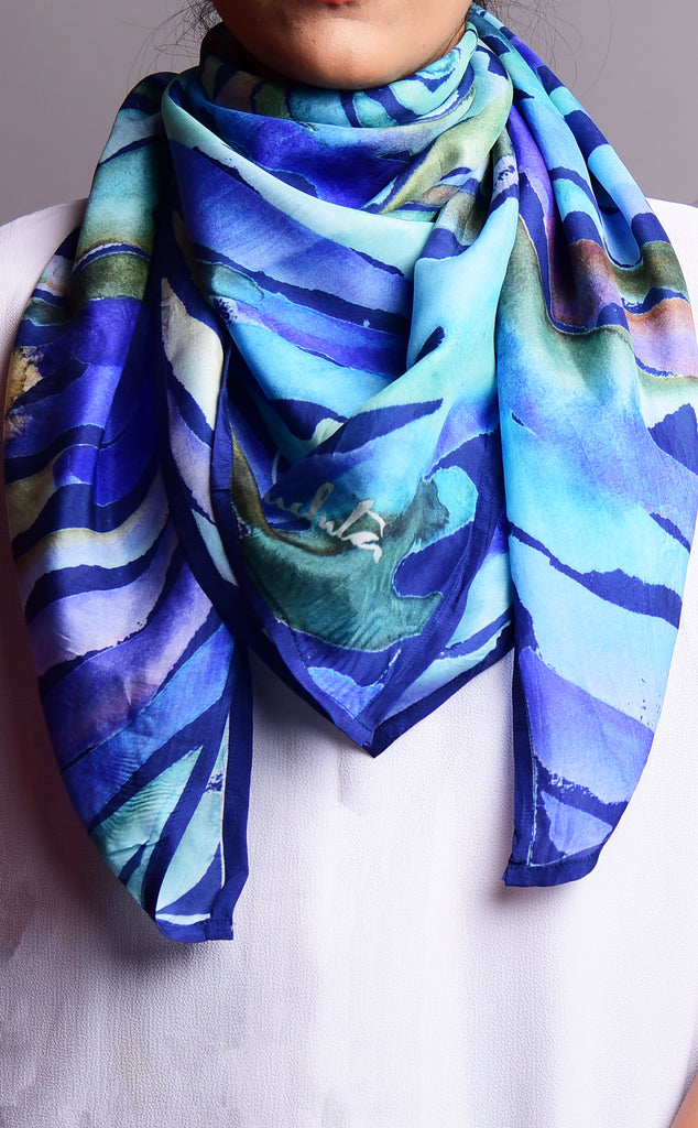 Pure Silk Scarf_Water Twirl_Blue Texture 102