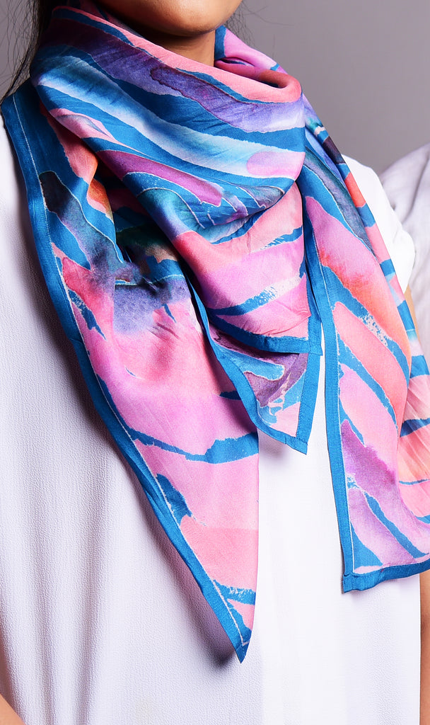 Blue And Pink Water Twirl Printed Pure Silk Scarf