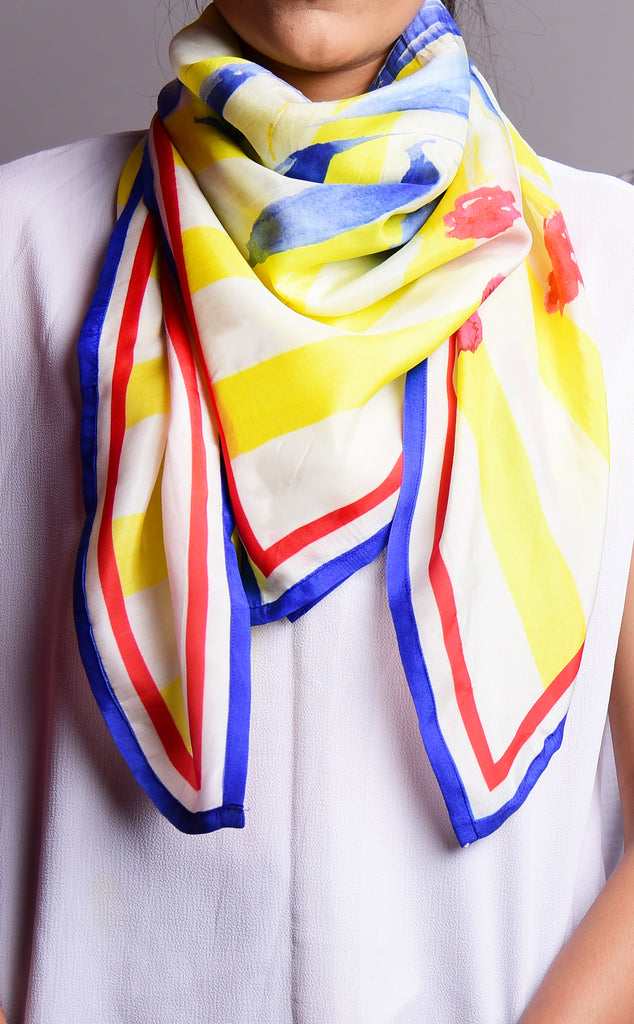 Pure Silk Scarf_Floral 101_Red Blue Yellow