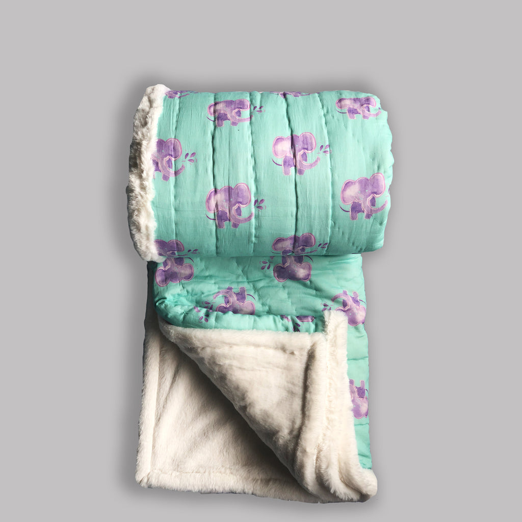 Weighted Faux Fur Quilt Baby Elephant Aqua Purple