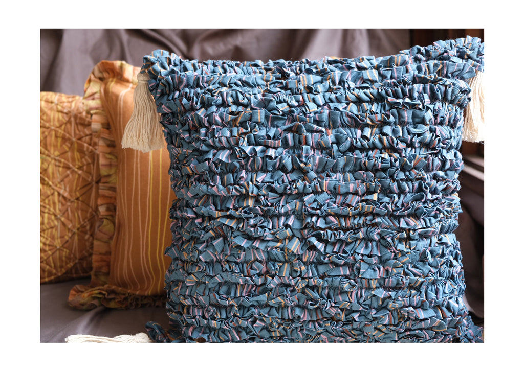 Blue and Ochre Fabric Manipulation Cushion cover