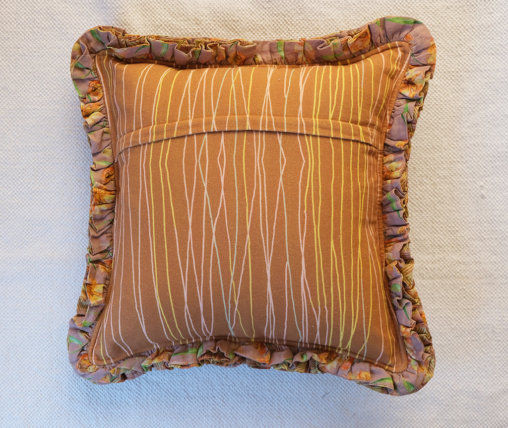 Classic Tan Brown Cushion cover with Frill Detail