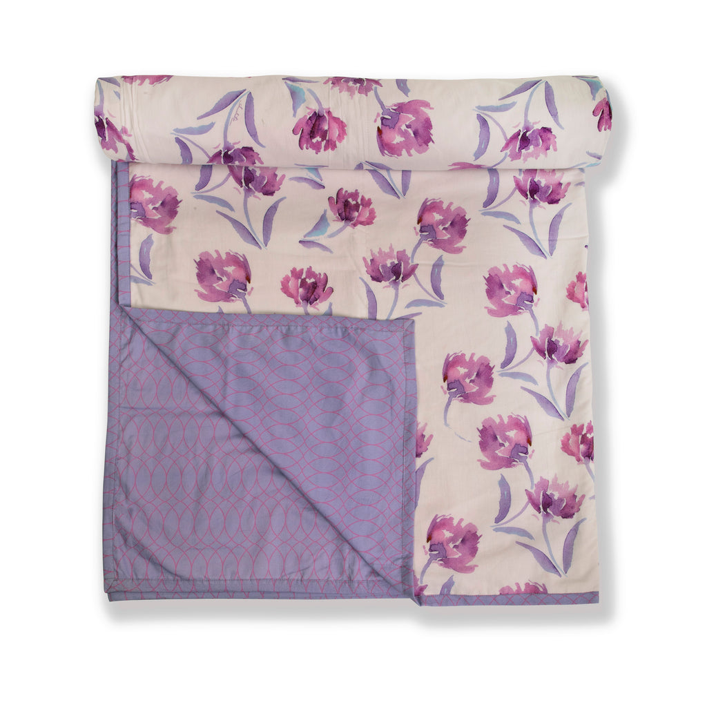Cotton Duvet / Dohar  110 White Purple
