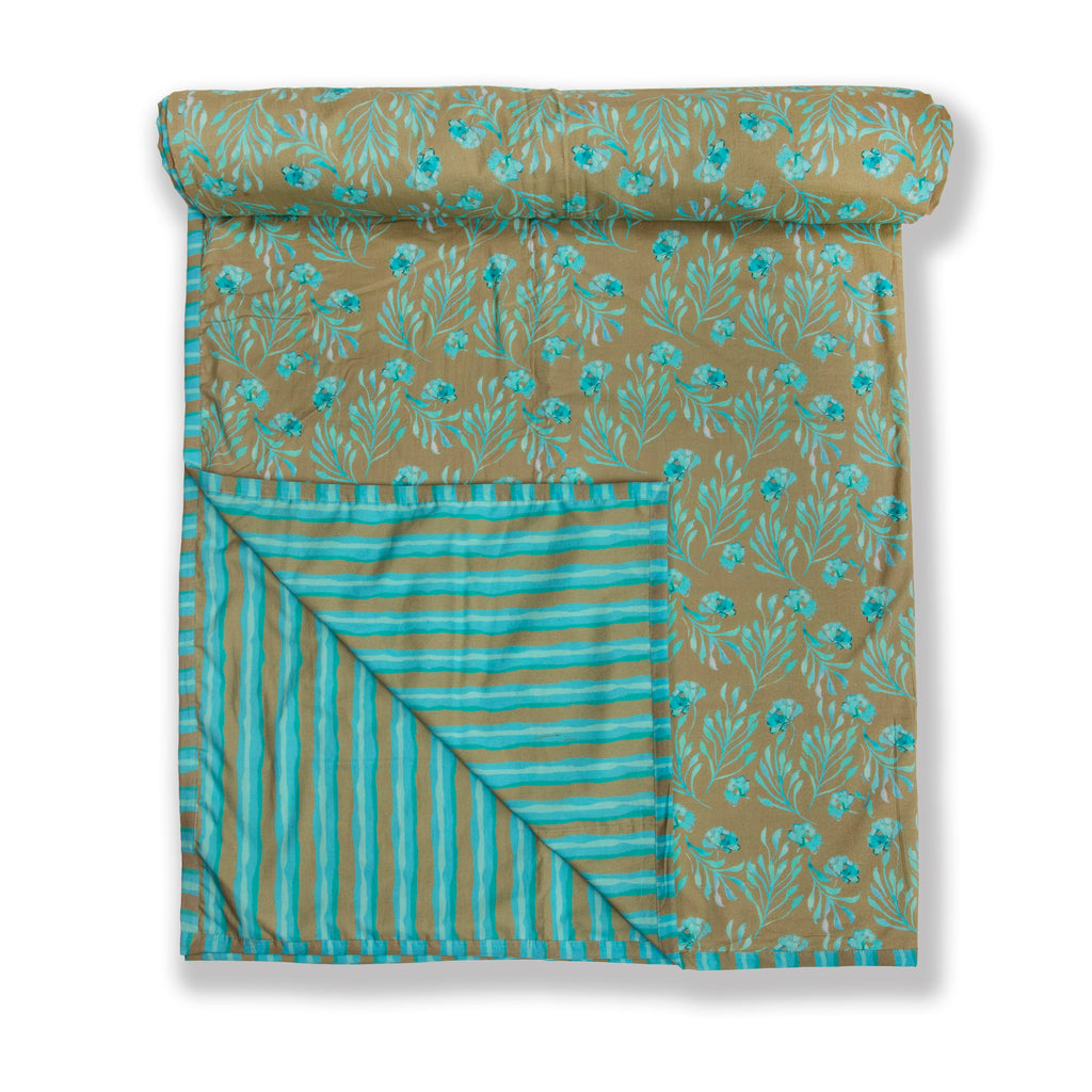 Cotton Duvet / Dohar  123 Aqua Brown