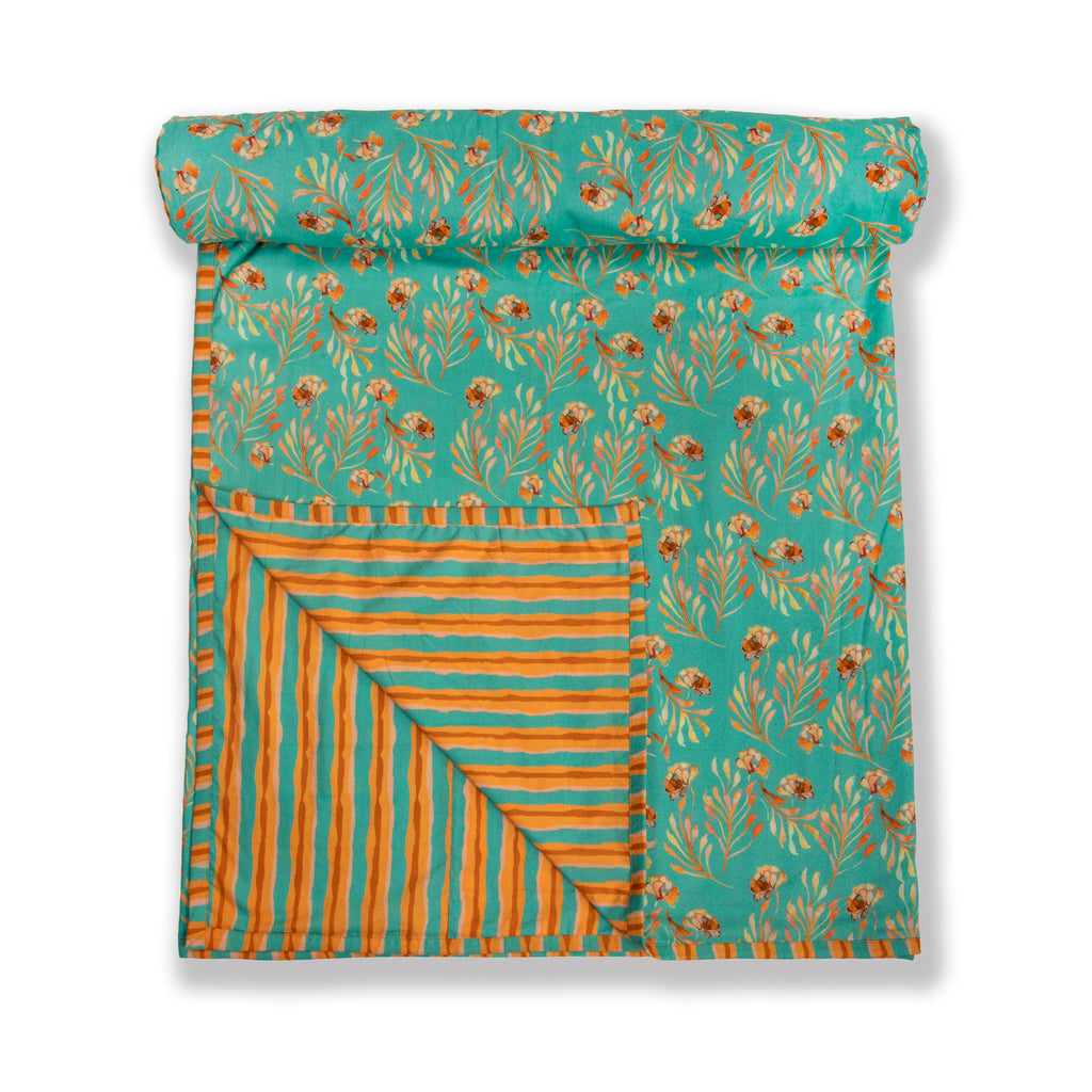 Cotton Duvet / Dohar  123 Aqua Orange