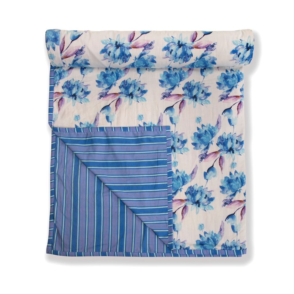 Cotton Duvet / Dohar  125 White Blue