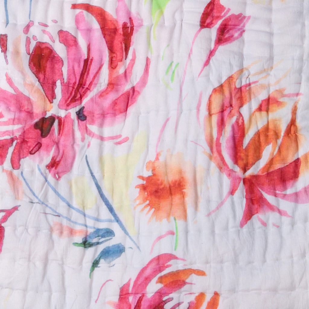 Floral Dreams Cotton Quilt 102 White Pink