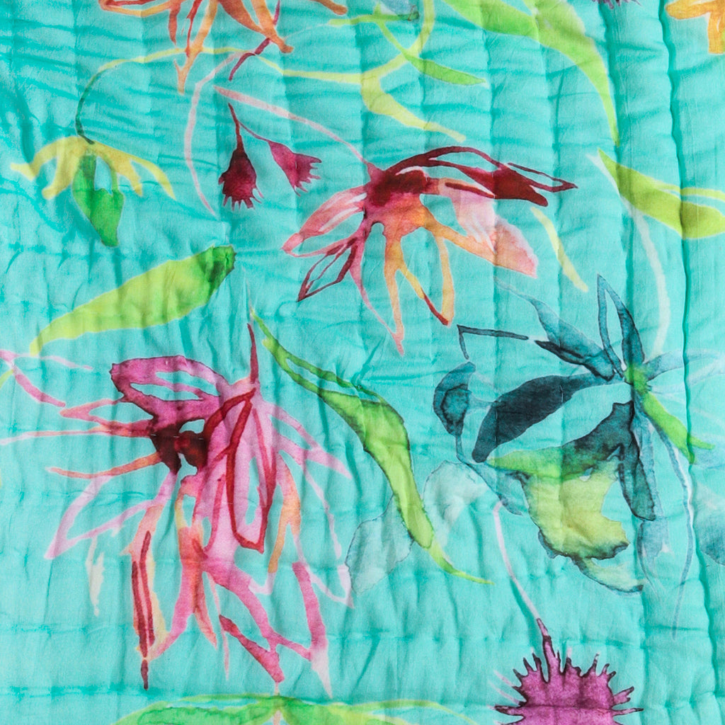 Floral Dreams Cotton Quilt 103 Aqua