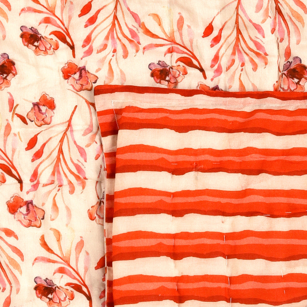 Floral Dreams Cotton Quilt 123 White Red Double Sided