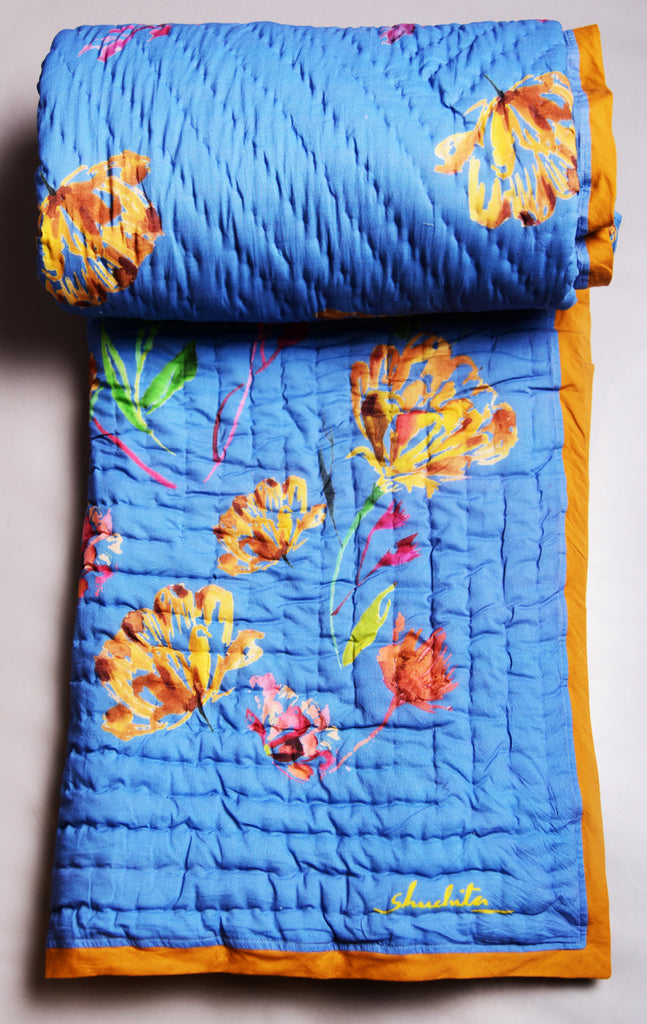 Floral Dreams 101 / Ocean Blue / Cotton Quilt