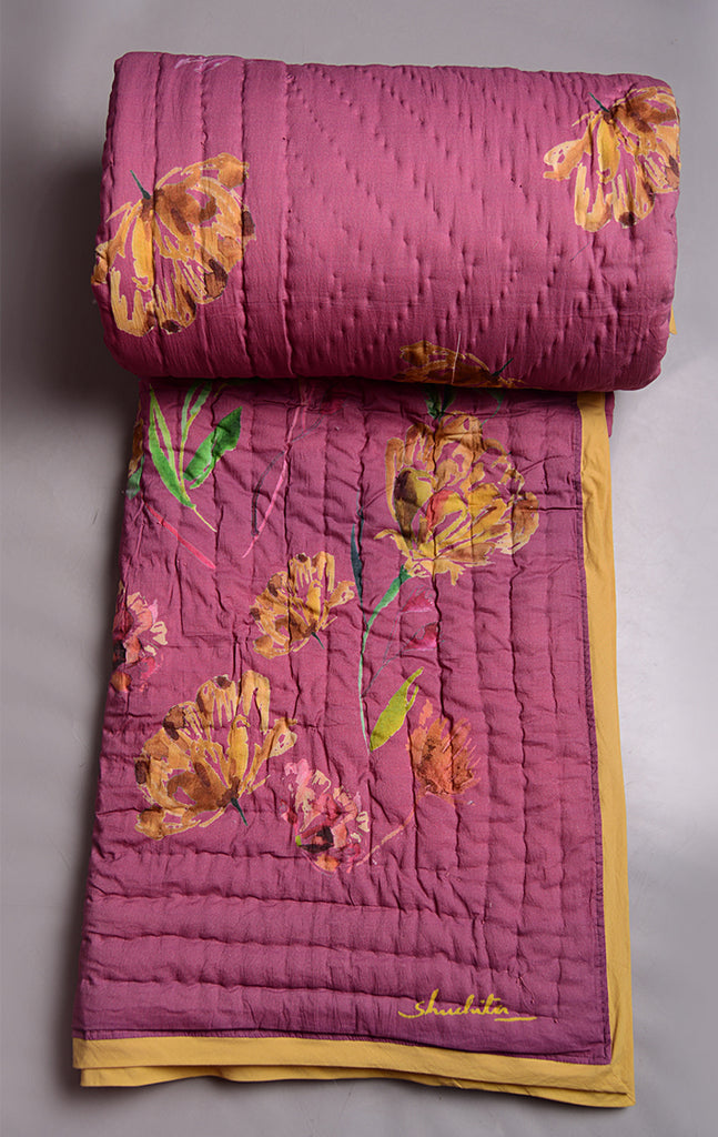Floral Dreams 101 / Pink Bow / Cotton Quilt