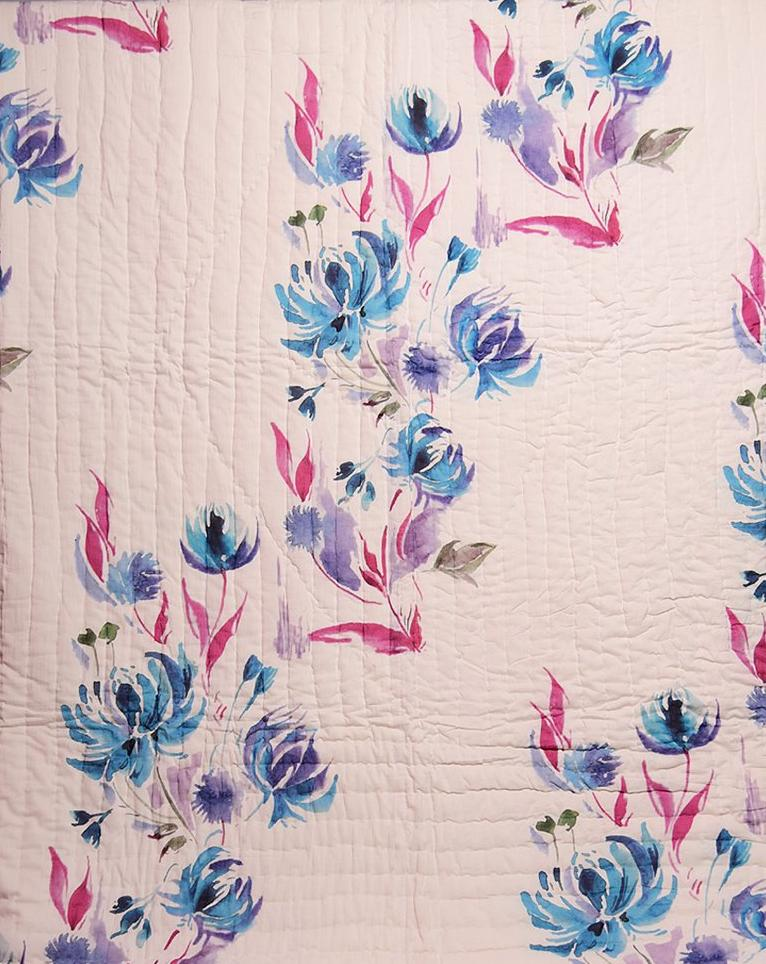 Floral Dreams Cotton Quilt 102 White Blue