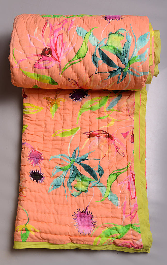 Floral Dreams Cotton Quilt 103 Peach Orange