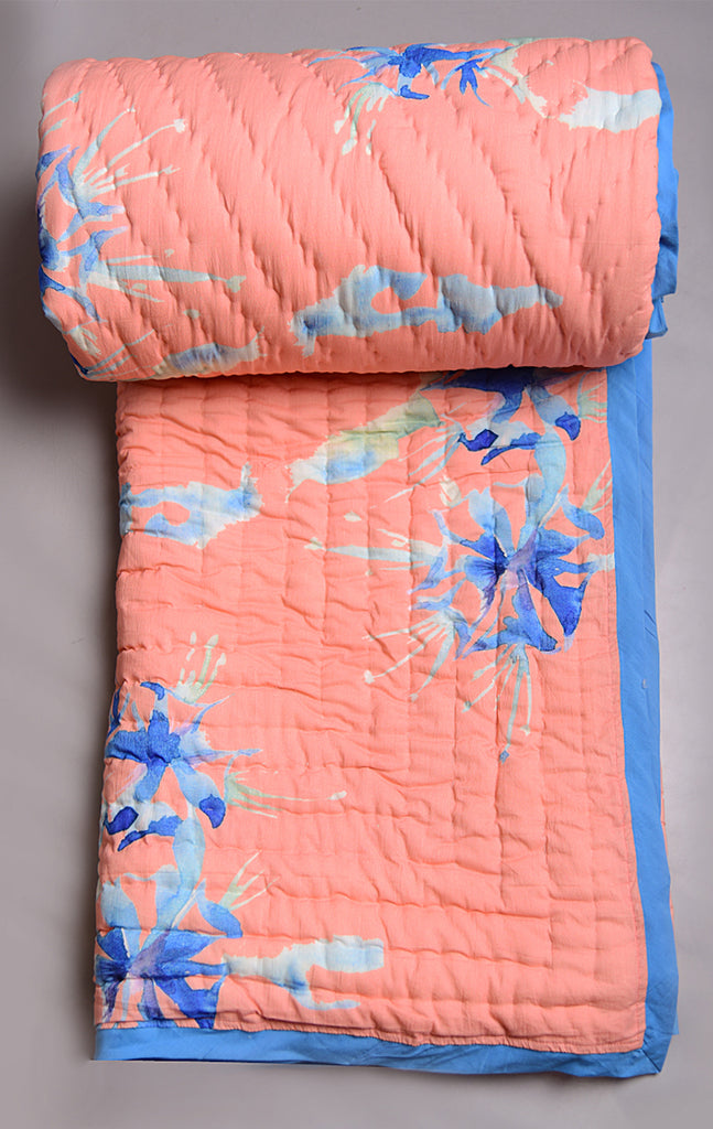 Floral Dreams Cotton Quilt 104 Peach