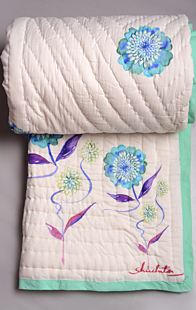 Floral Dreams Cotton Quilt 105 White