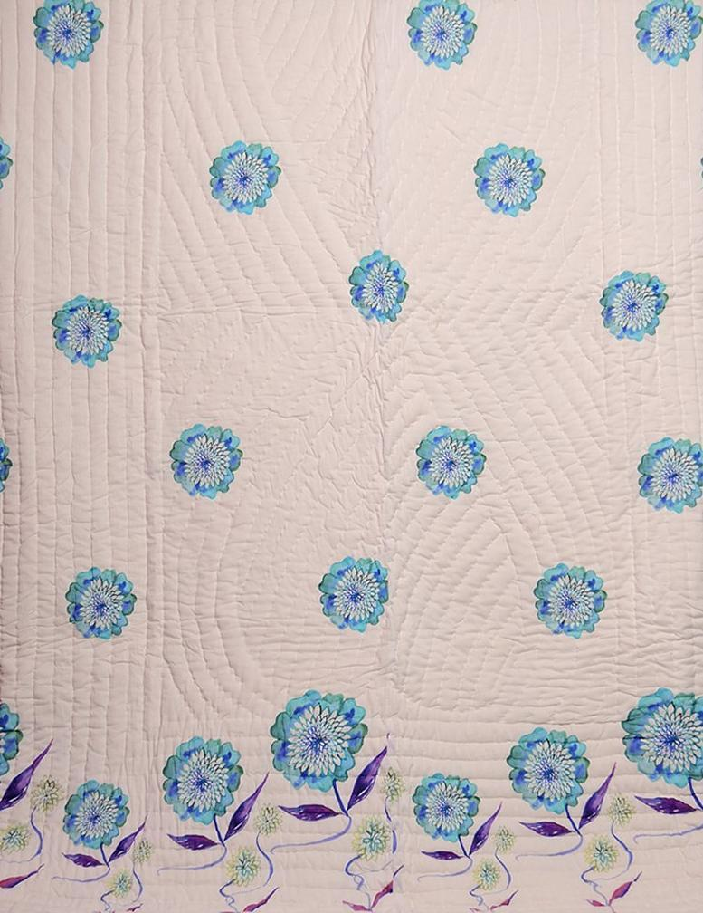 Floral Dreams 105/ Soothing White / Cotton Quilt