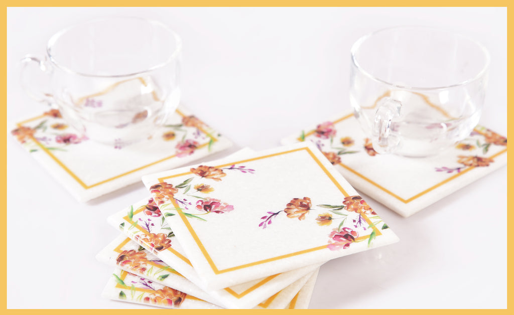 Classy-Clean Marble Table Coaster | Ochre on White
