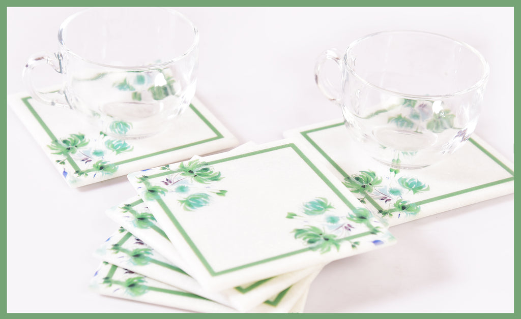 Classy-Clean Marble Table Coaster | Green on White