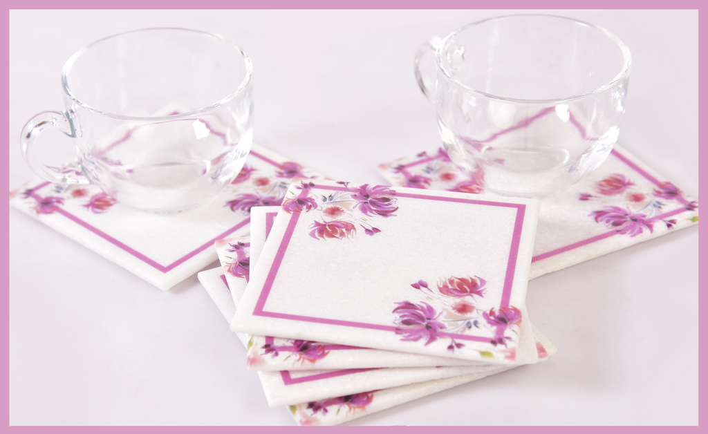 Classy-Clean Marble Table Coaster | Pink on White