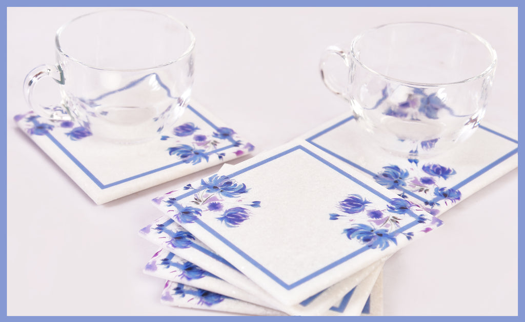 Classy-Clean Marble Table Coaster | Blue on White