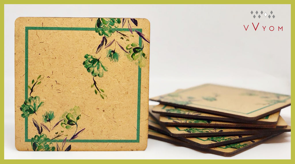 Raw Rustic Wood alike Table Coaster 101 Green