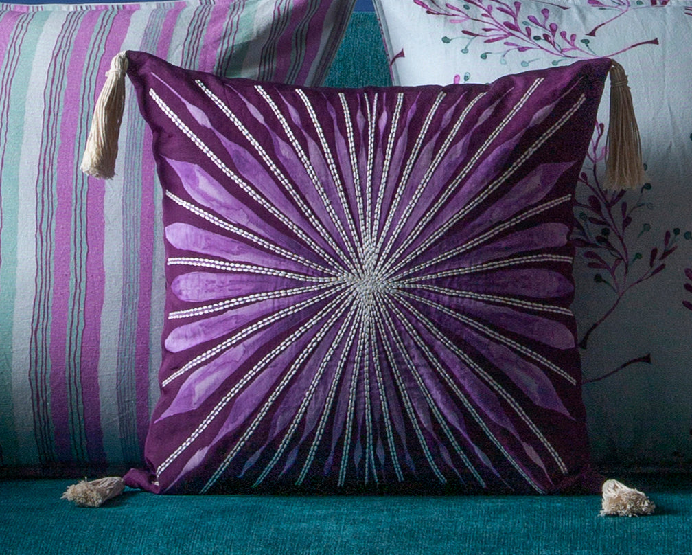 Burgundy Colour Wheel Cushion Silk Embroidered with Tassels