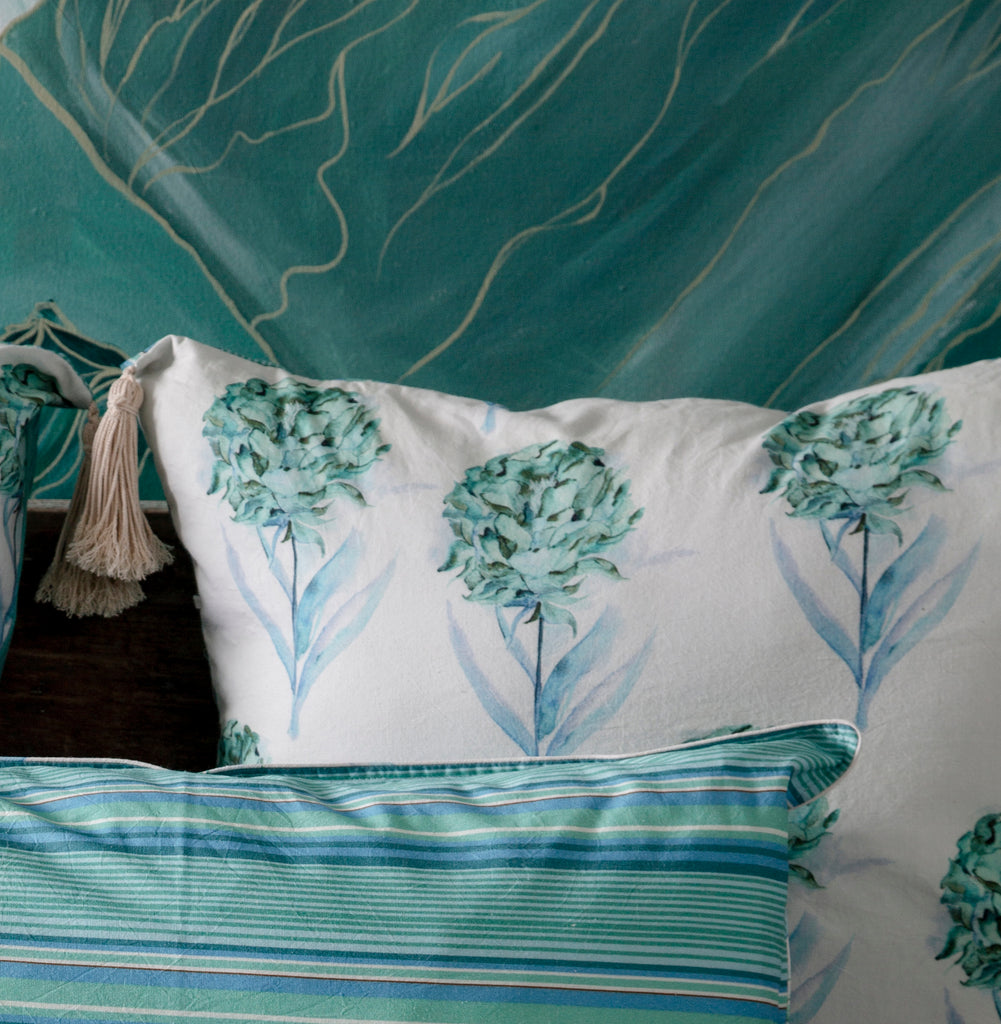 Aqua and White 121 Head Board Cushion Cover with Tassels
