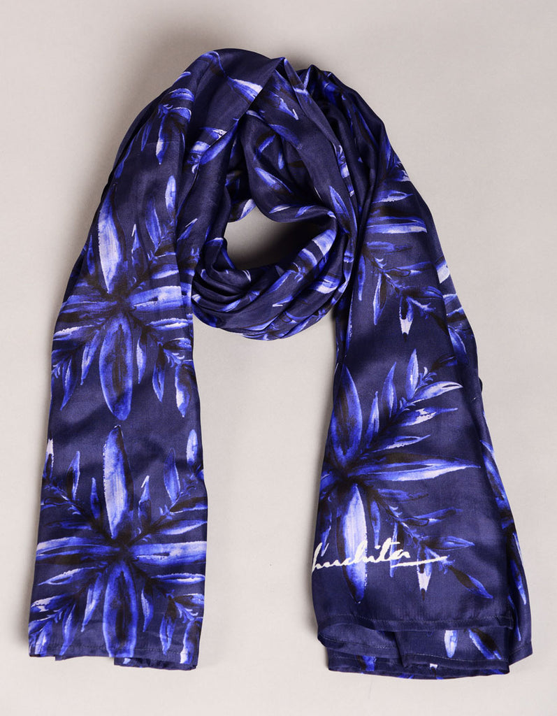 Pure Silk Scarf- Colour Stoy-Deep Blue