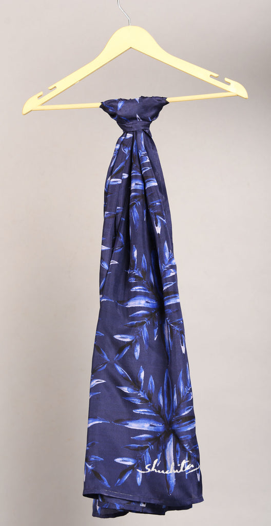Deep Blue Colour Story Floral Printed Pure Silk Scarf