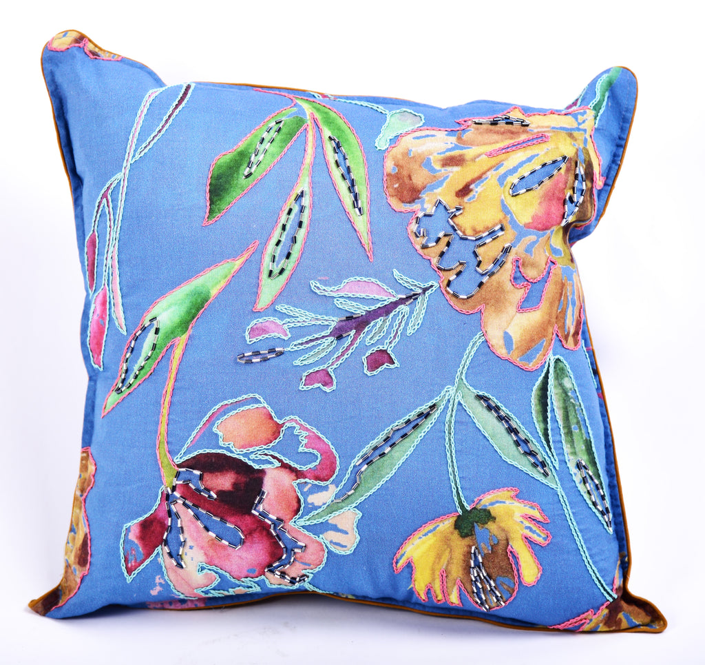 Embroidered Festive Cushion 101 Blue 16x16""