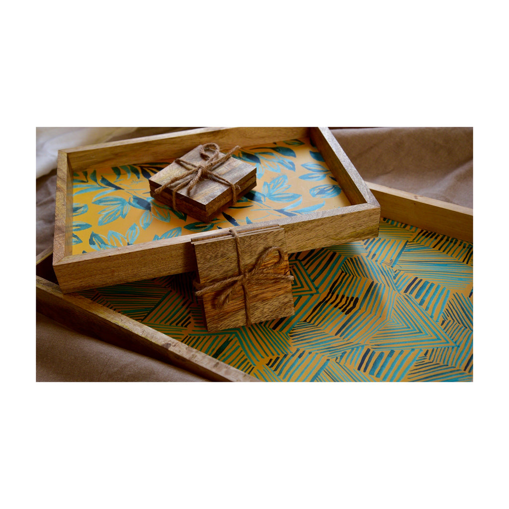 Multi Utility Tray and Coaster Gift Set of 8 | Tropical Yellow