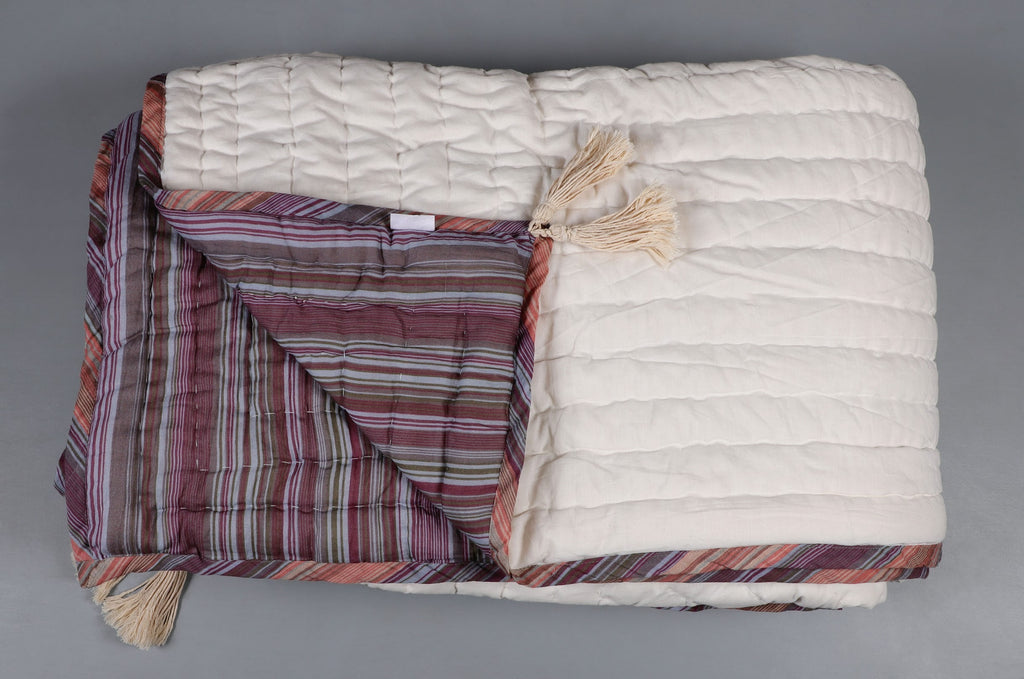 All White Reversible Rich Ivory LUXURY Cotton Quilt