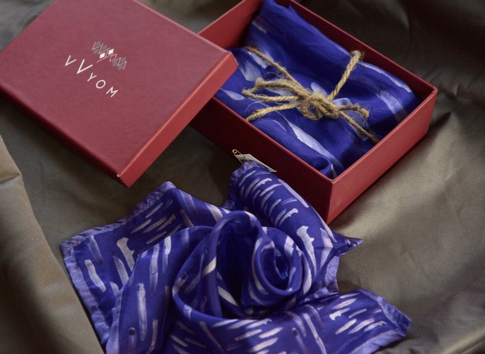 Violet Colour Story Stripes Printed Pure Silk Scarf and Pocket Square Gift Set