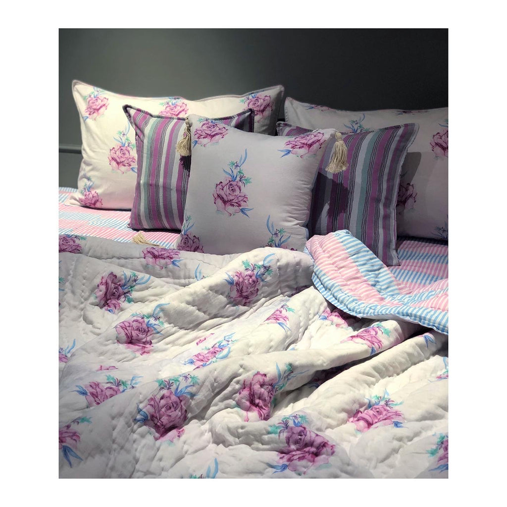Rose baby Pink and Powder Blue Printed Bedding 7 PC Set