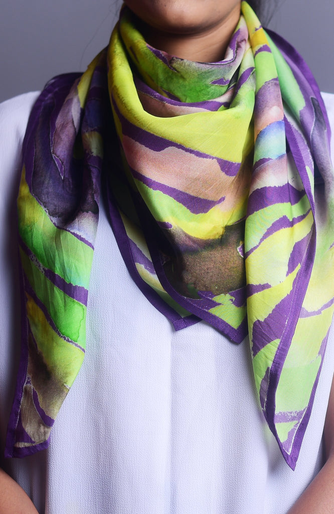 Lilac and Lime Green Water twirl Printed Pure Silk Scarf and Pocket Square Gift Set