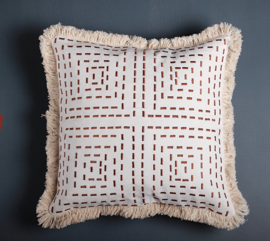 "ZEN Embroidered white and beige cushion cover 16""x16"" 