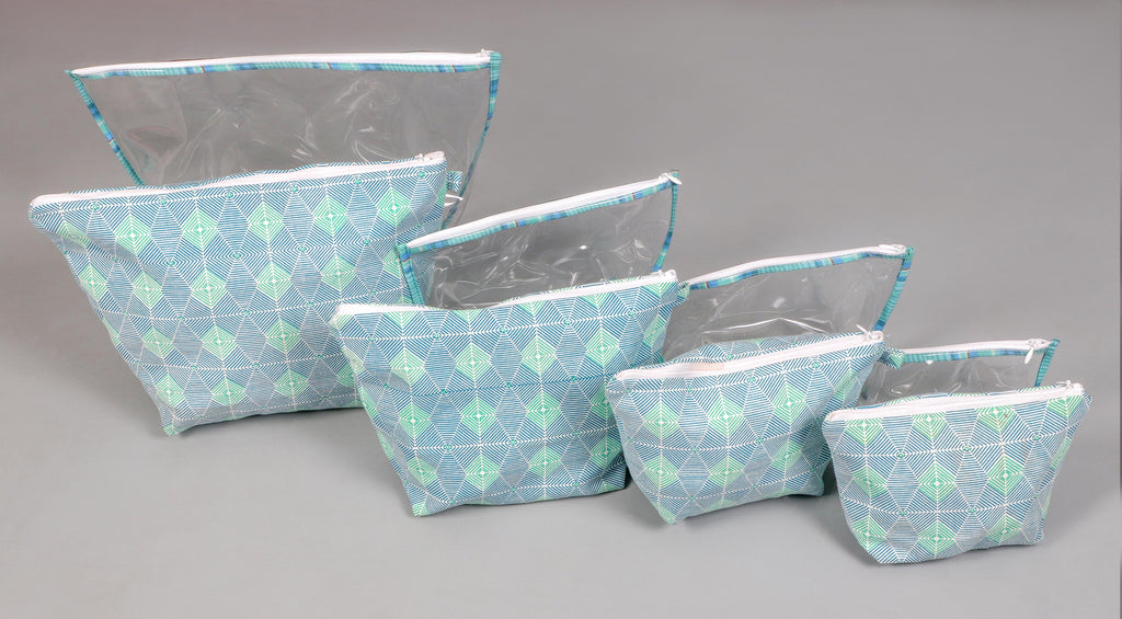 Blue and Green Tatva Printed Multi-utility Pouch Set of 8 Pcs