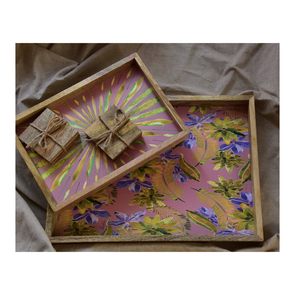 Multi Utility Tray and Coaster Gift Set of 8 | Lemonade Pink and Olive
