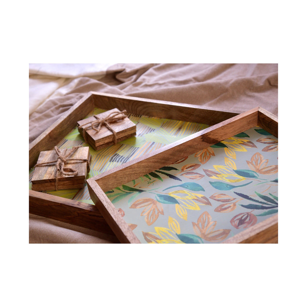 Multi Utility Tray and Coaster Gift Set of 8 | Gray And Green