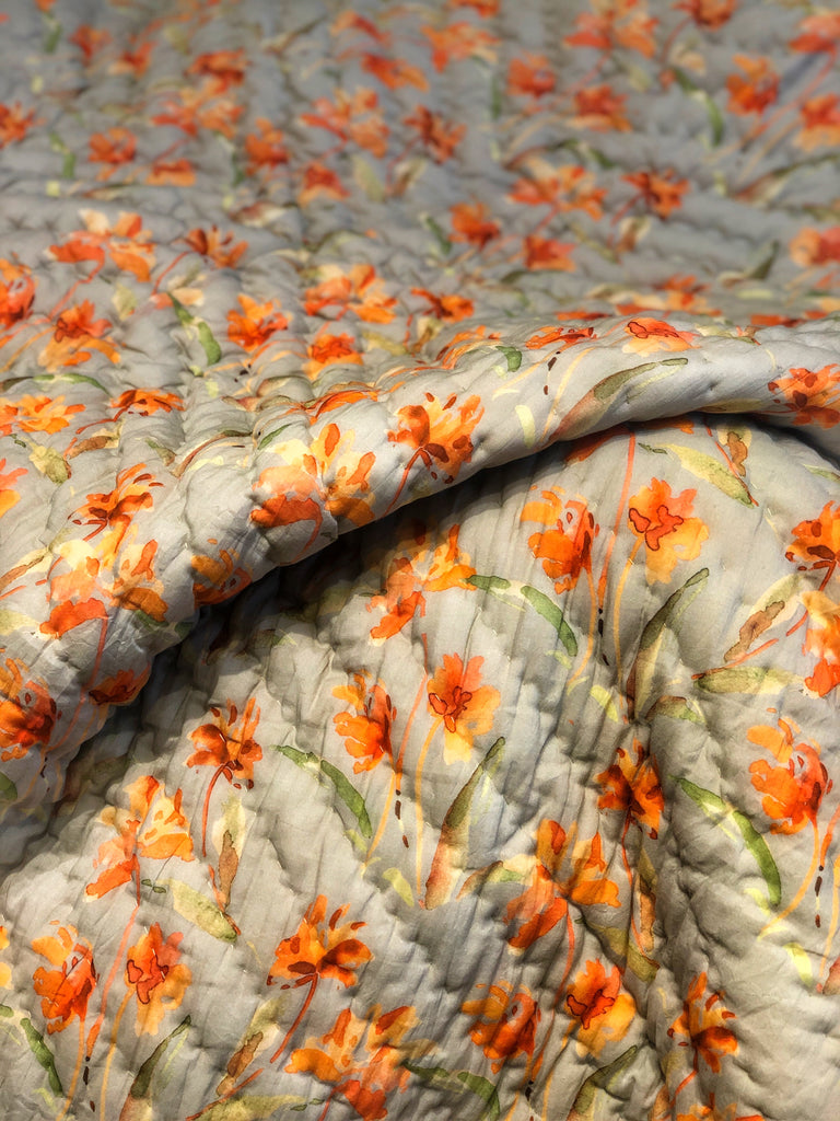 Floral Dreams Cotton Quilt 118 Orange Ochre