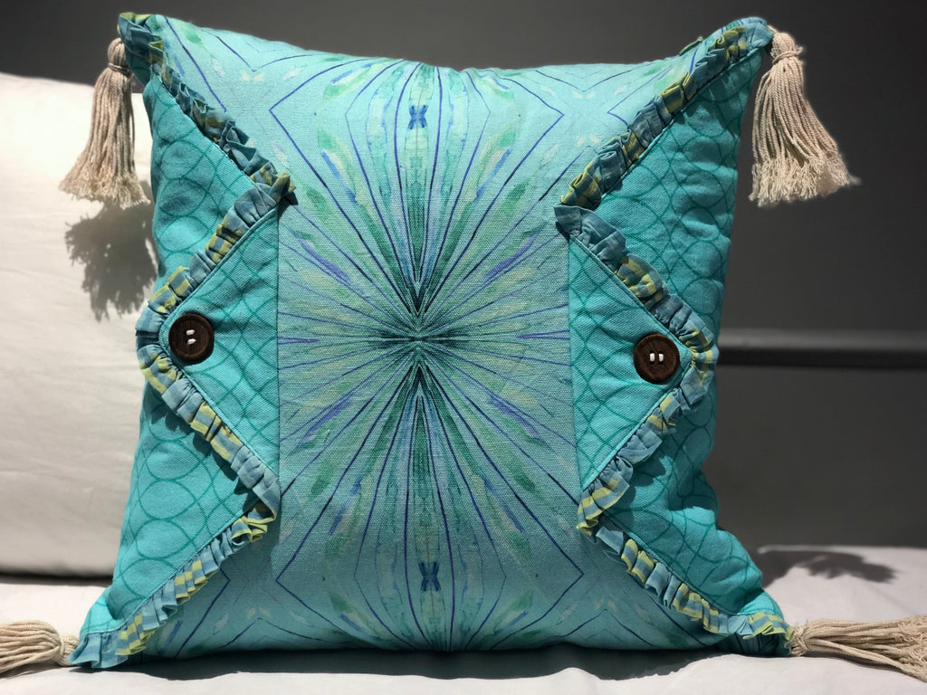 Aqua Abstract Printed Reversible Cushion Cover Ornamented with Tassels on 4 Corners